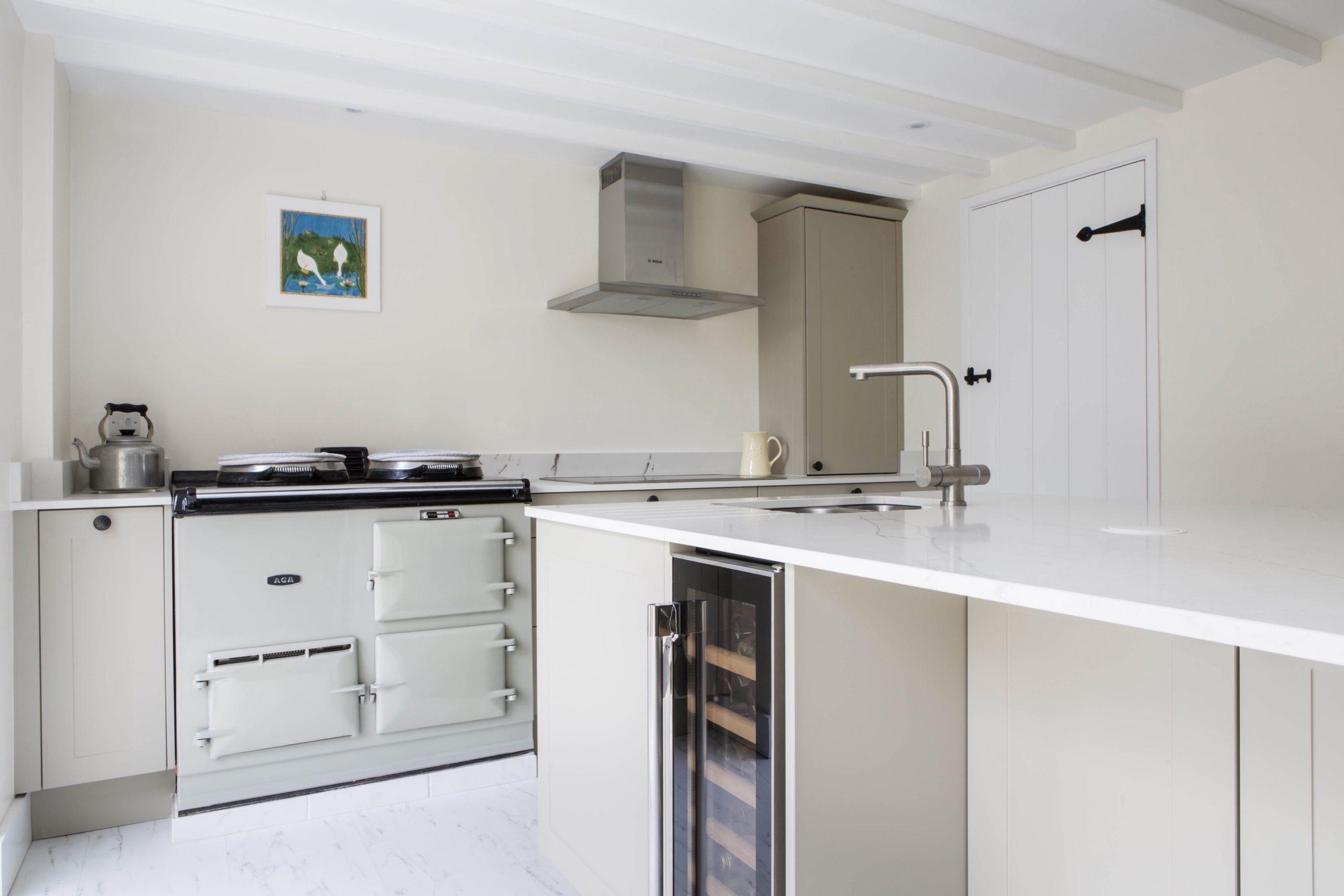 Aga range cooker white quartz breakffast bar kitchen island worminghall buckinghamshire 1 scaled