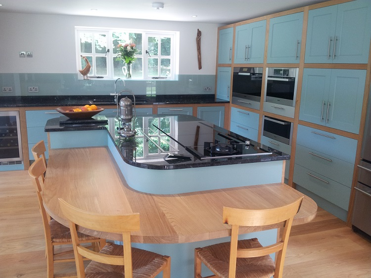 Dining table height curved breakfast bar oak handpainted granite chinnor hill oxfordshire 2