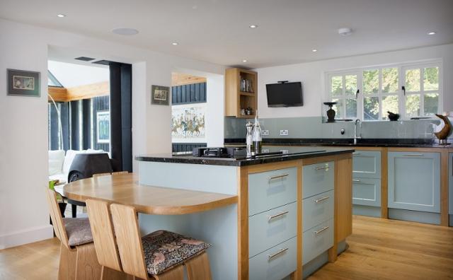 Farrow Ball Dix Blue bespoke island kitchen chinnor Oxfordshire