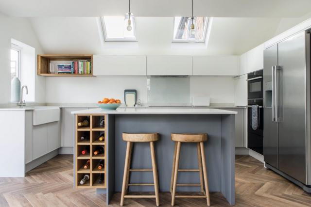 Grey modern oak wine rack bespoke kitchen island grey belfast sink thame oxfordshire 1 1024x683