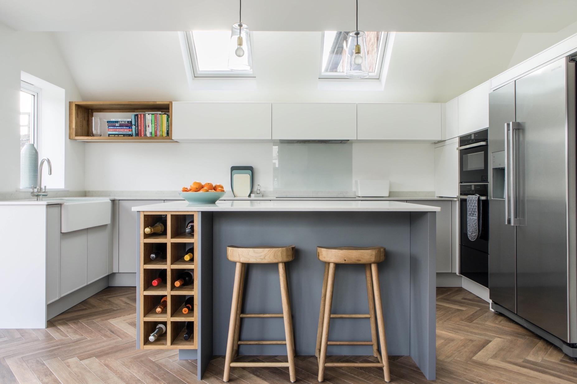 Grey modern oak wine rack bespoke kitchen island grey belfast sink thame oxfordshire 1