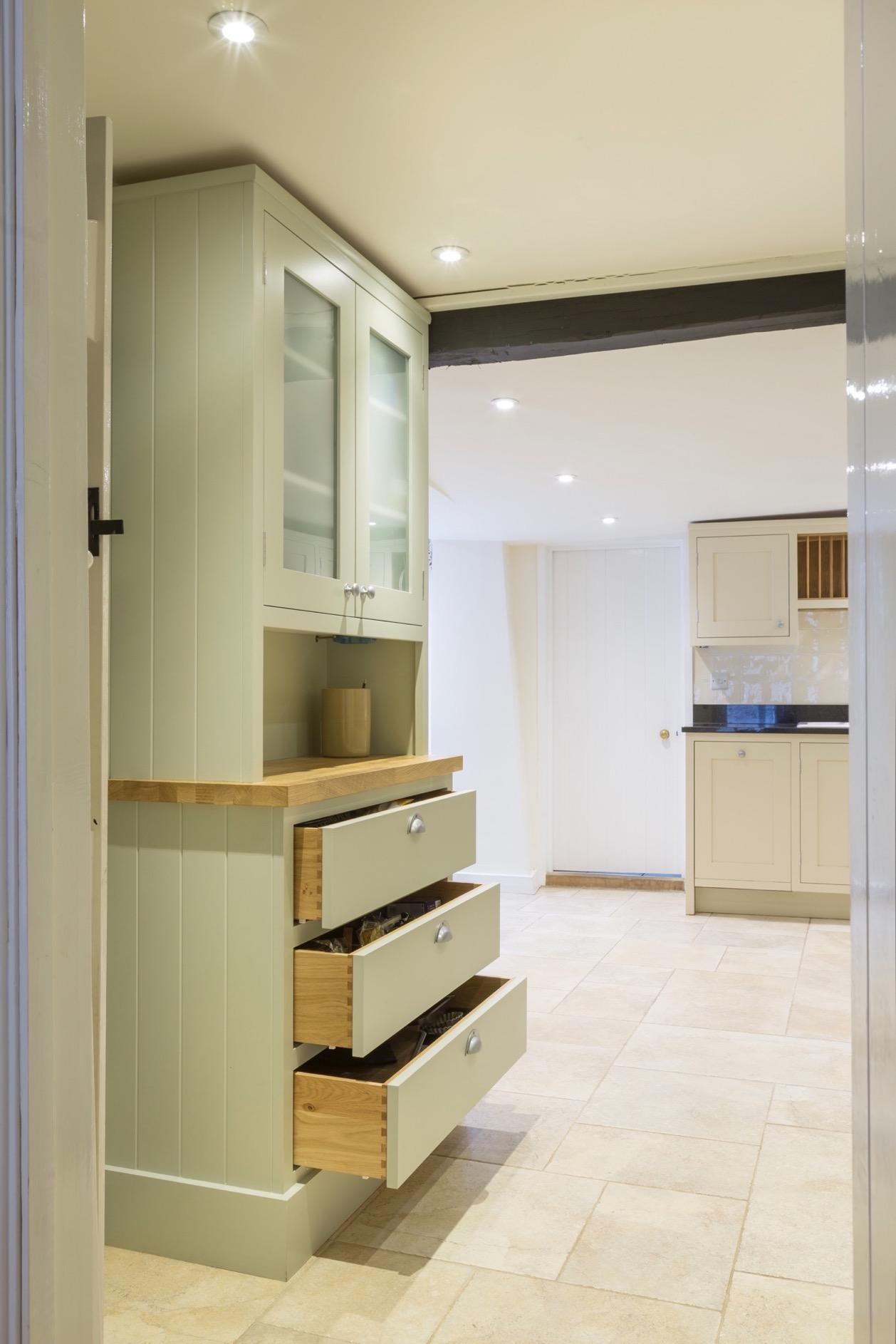 Handpainted dresser with oak drawers and glass doors amersham bucks 2 2
