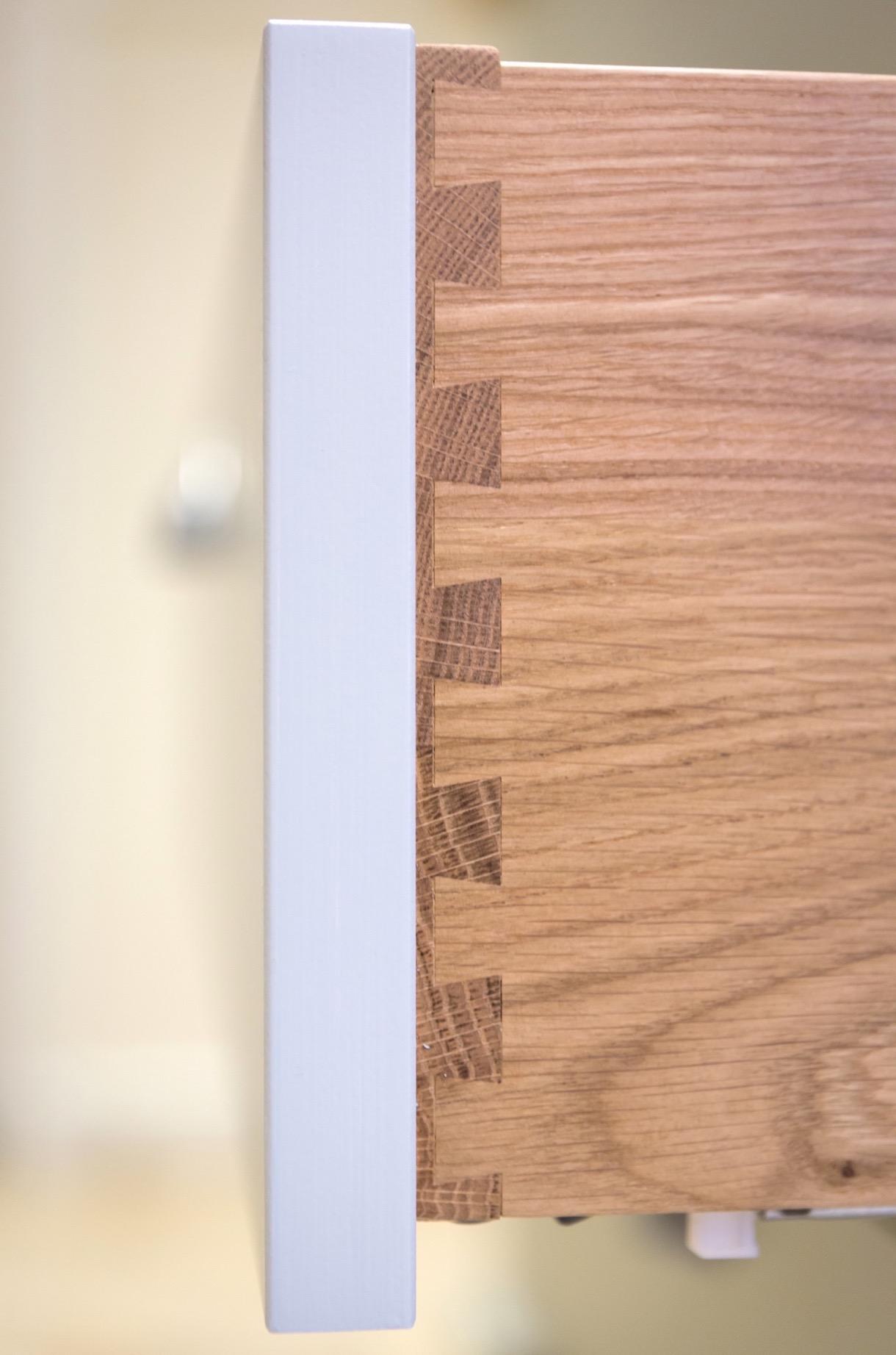 Handpainted dresser with oak drawers and glass doors amersham bucks 3 1