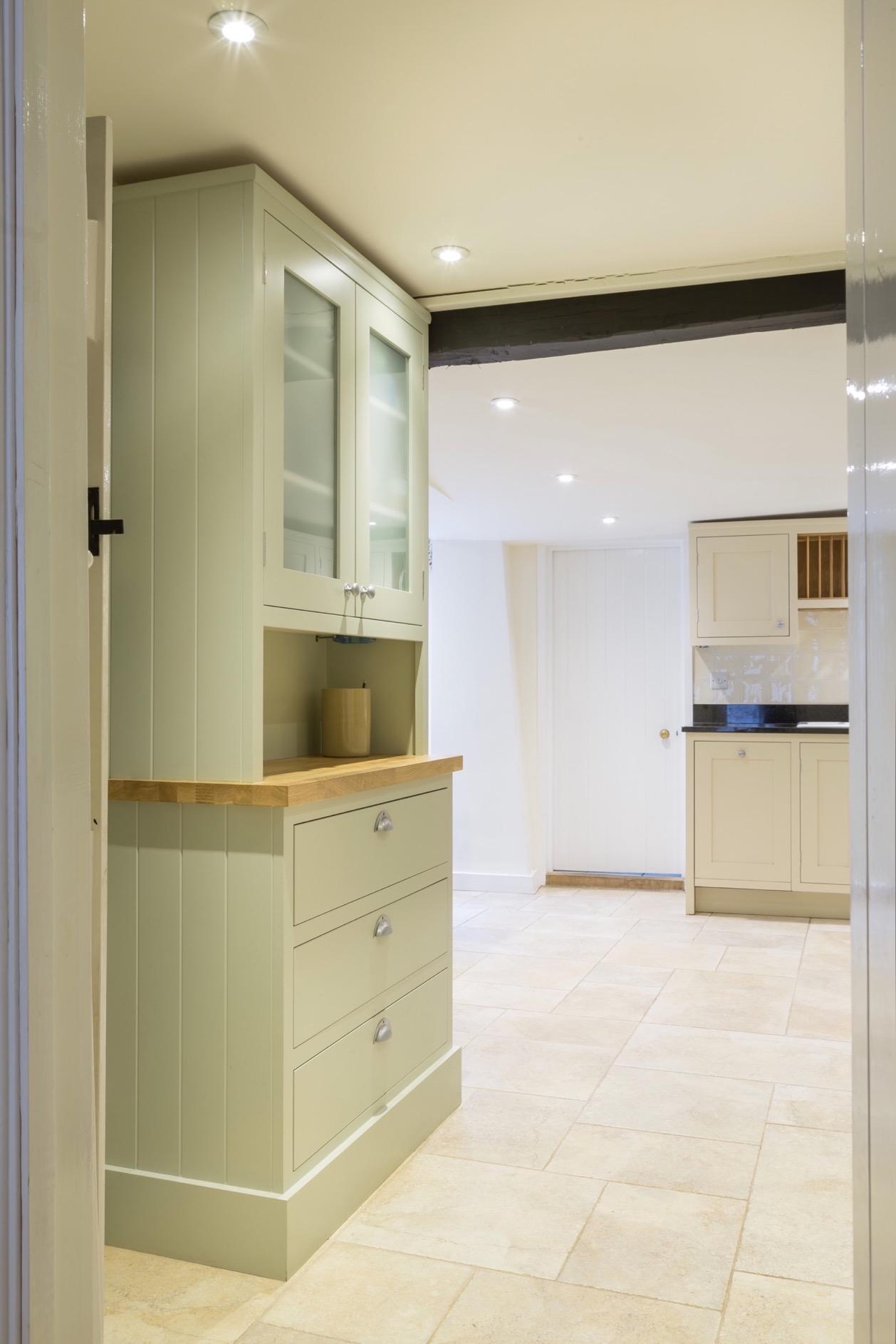 Handpainted dresser with oak drawers and glass doors amersham bucks 4