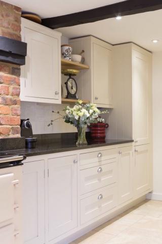 Handpainted kitchen with oak shelves and drawers amersham bucks 2 1 683x1024