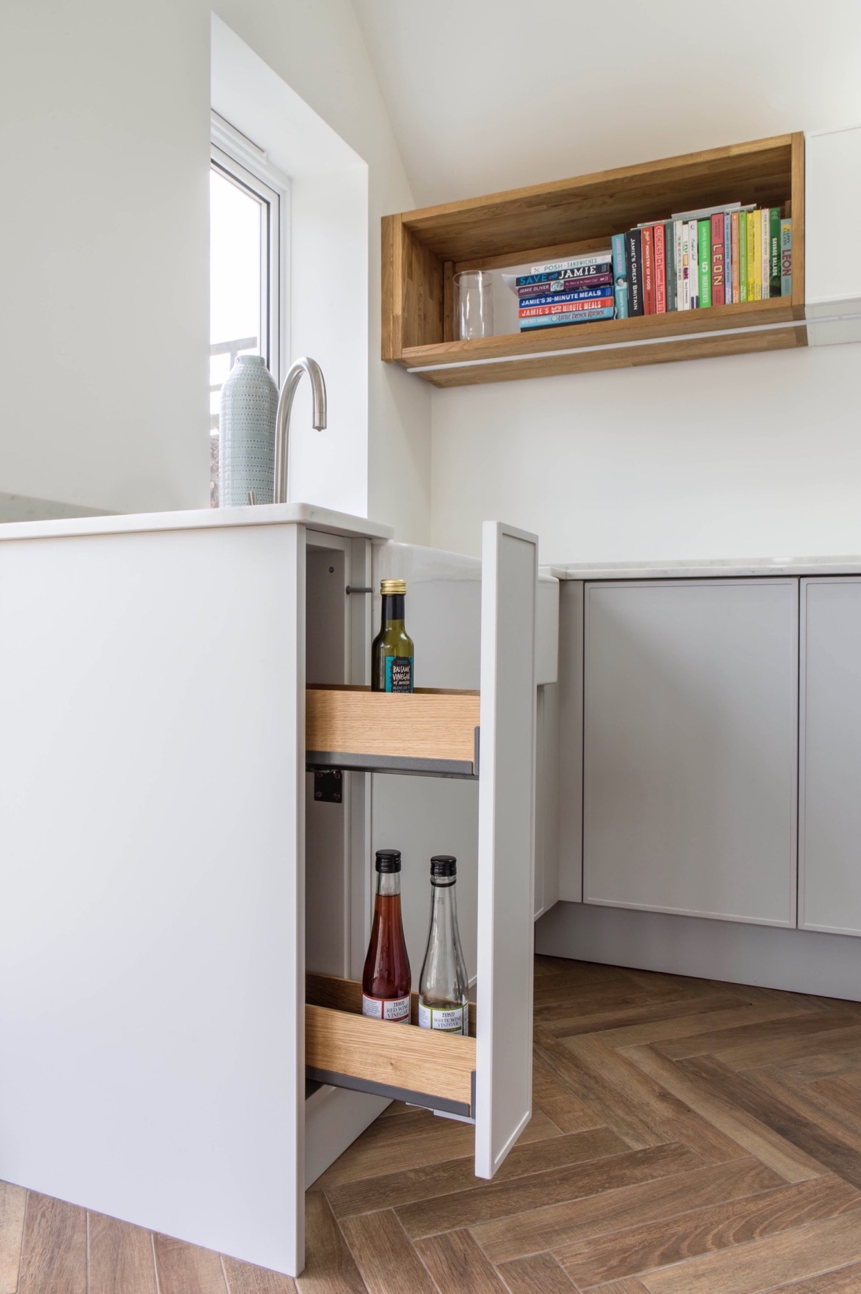 Oak bottle storage pull out kitchen storage bespoke kitchen kingsey longwick