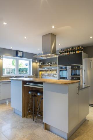 Oak stainless steel kitchen island Oxfordshire black