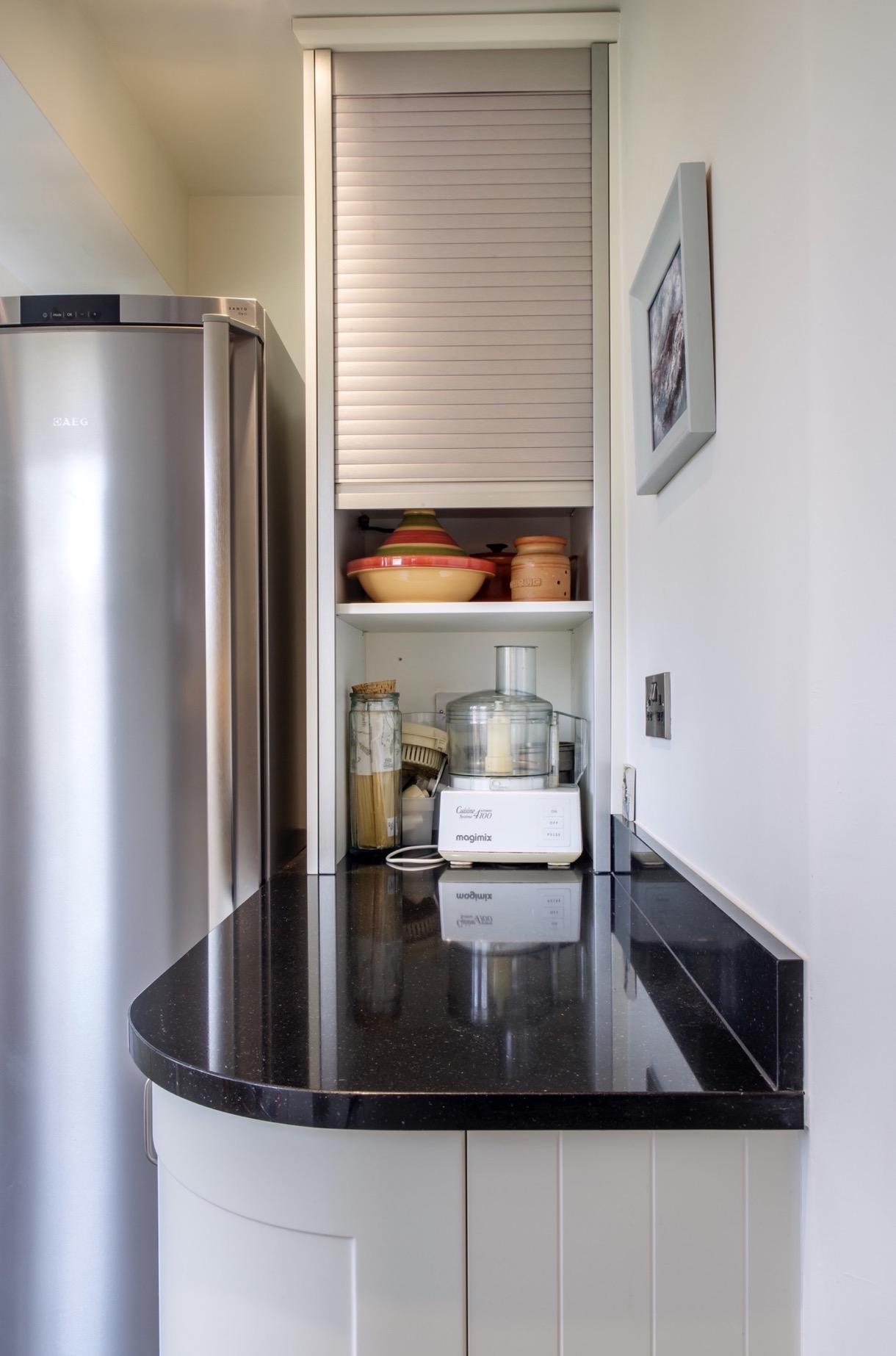 Stainless steel tambour door appliance storage long crendon buckinghamshire 1