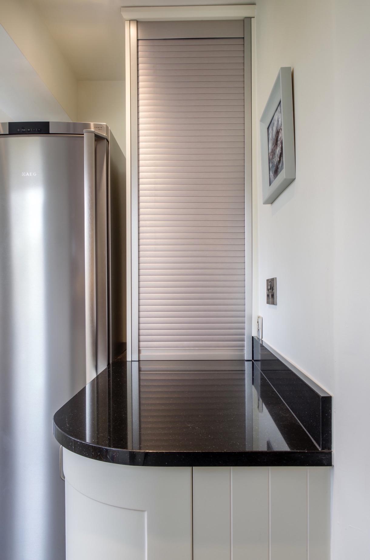 Stainless steel tambour door appliance storage long crendon buckinghamshire 2 2