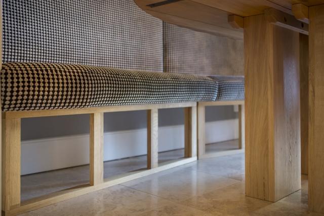 Upholstered bench seating detail oxford kitchen bespoke