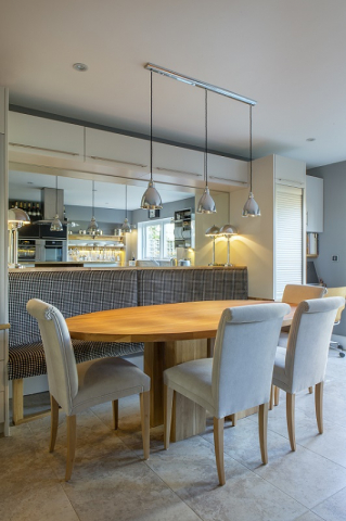 Upholstered bench seating oxford kitchen bespoke