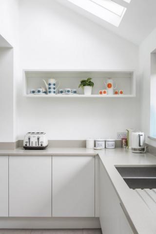 White kitchen grey worktops painted box shelf aylesbury buckinghamshire 683x1024