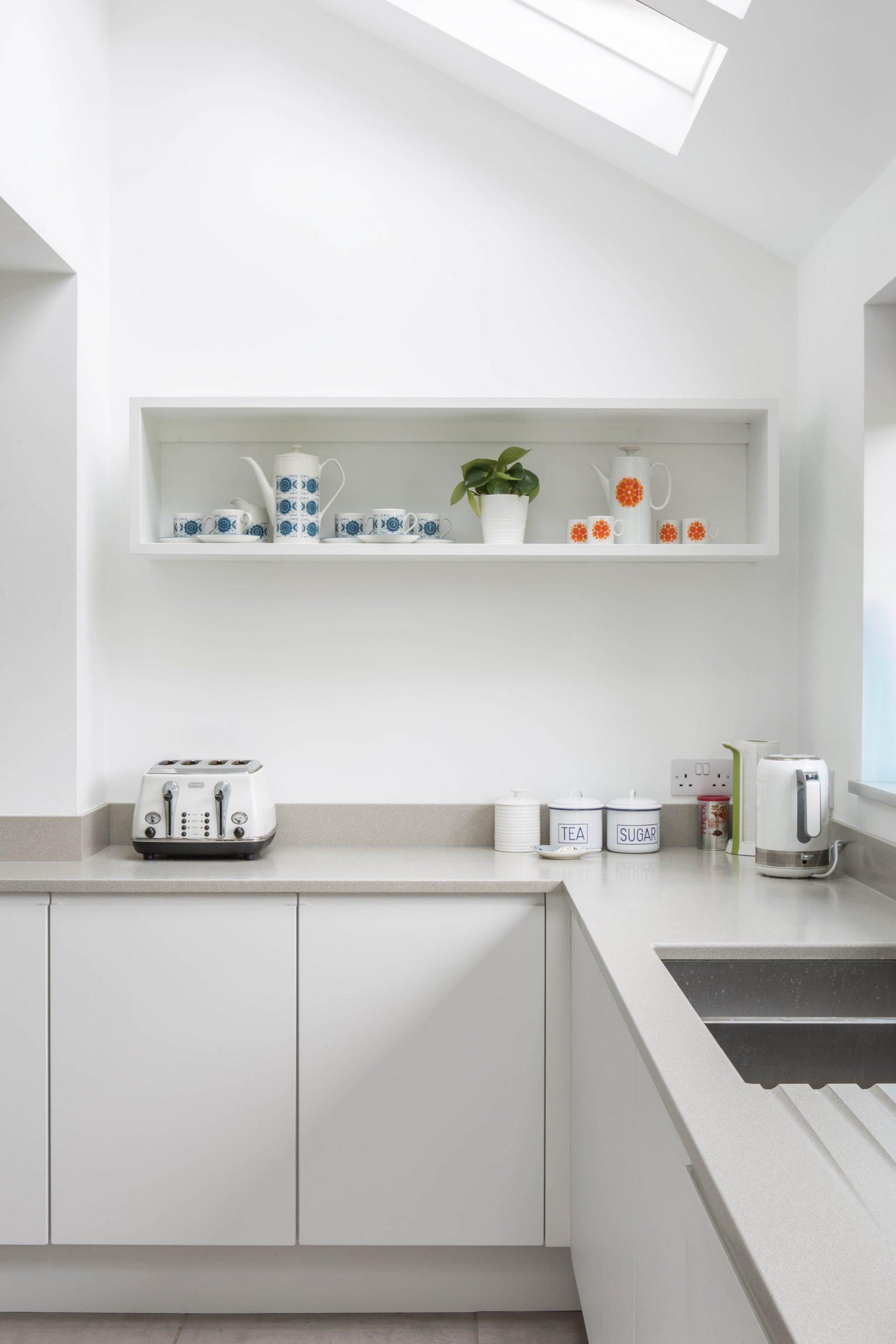 White kitchen grey worktops painted box shelf aylesbury buckinghamshire scaled