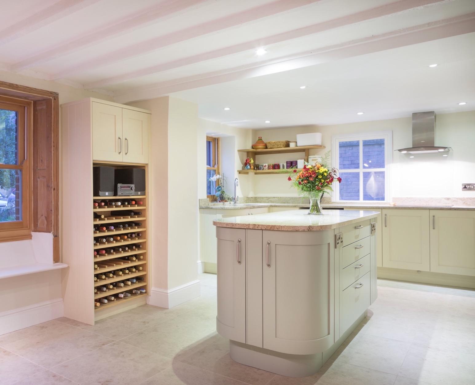 bespoke wine storage handpainted kitchen with
