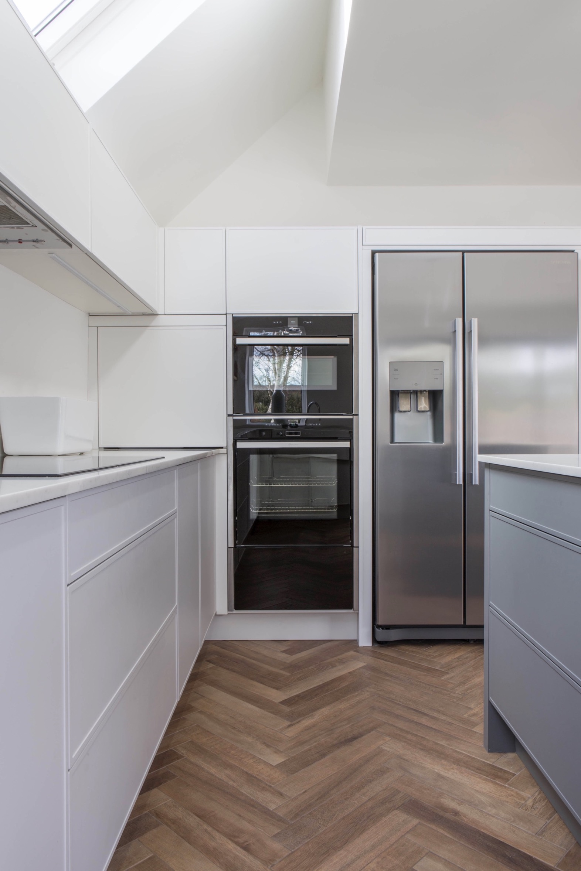 bright skylight kitchen oxfordshire grey handleless stainless steel fridge tall oven thame 1