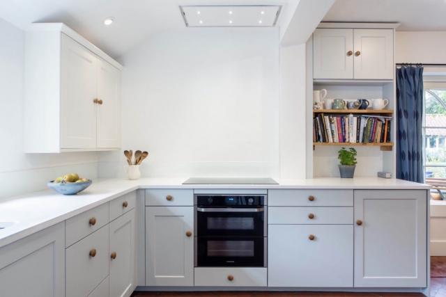 ceiling mounted extractor and worktop dresser with oak shelves haddenham buckinghamshire bespoke kitchen 1024x683