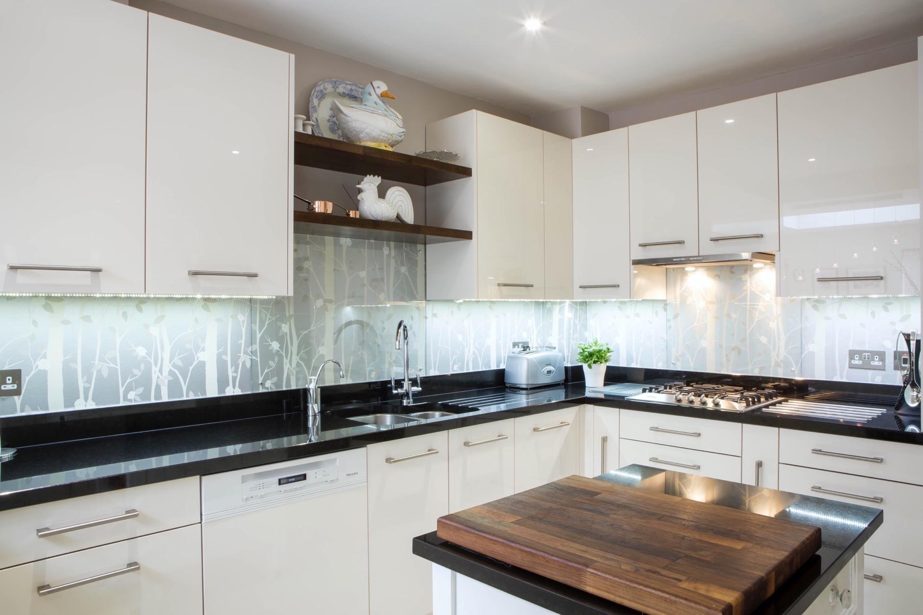 cream gloss kitchen walnut shelves wallingford oxford undermounted sink 1