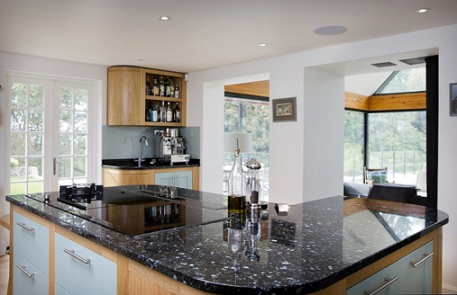 curved island blue pearl worktop curved door stadhampton oxfordshire bespoke kitchens