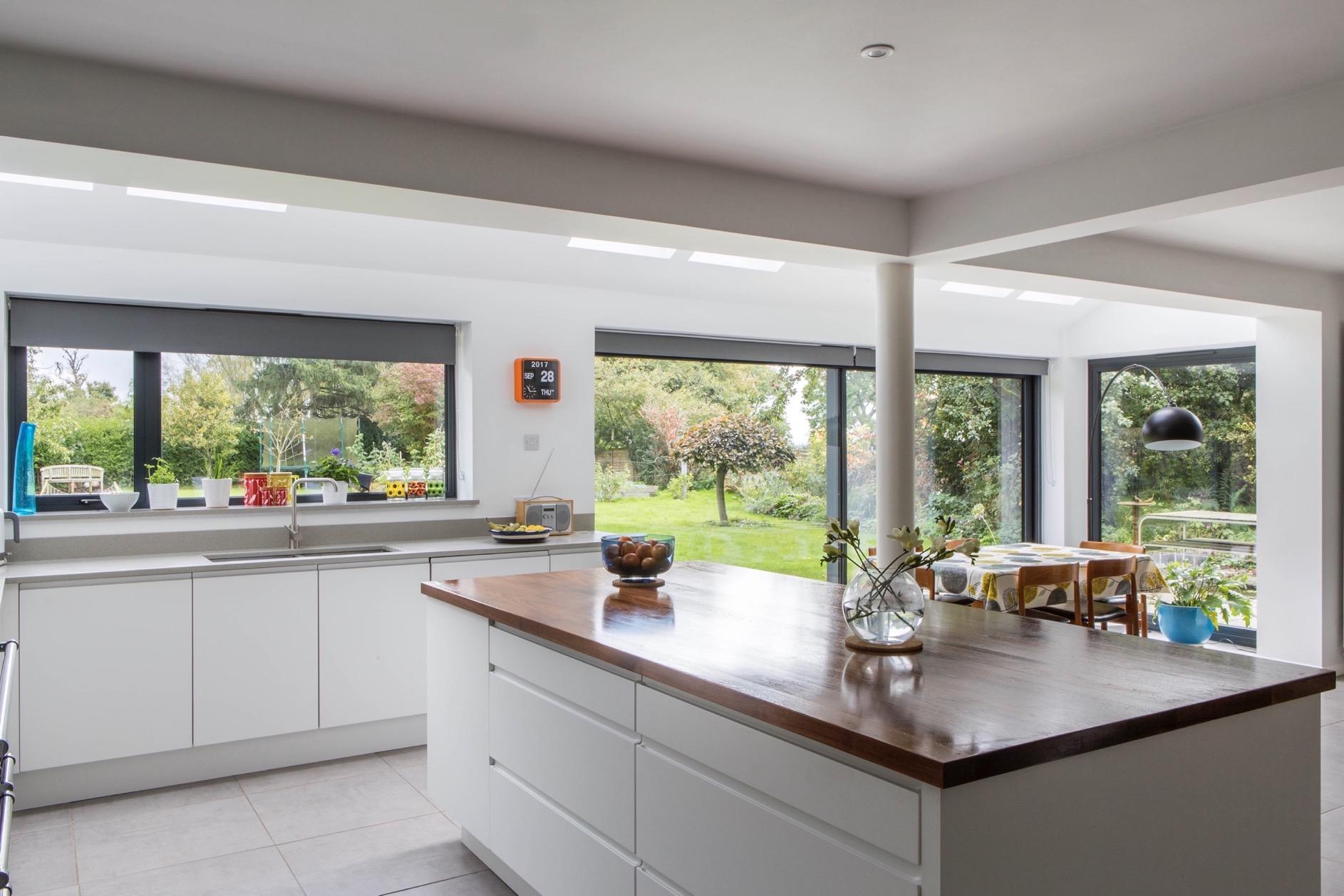 garden view kitchen island walnut handleless stewkley buckinghamshire 1