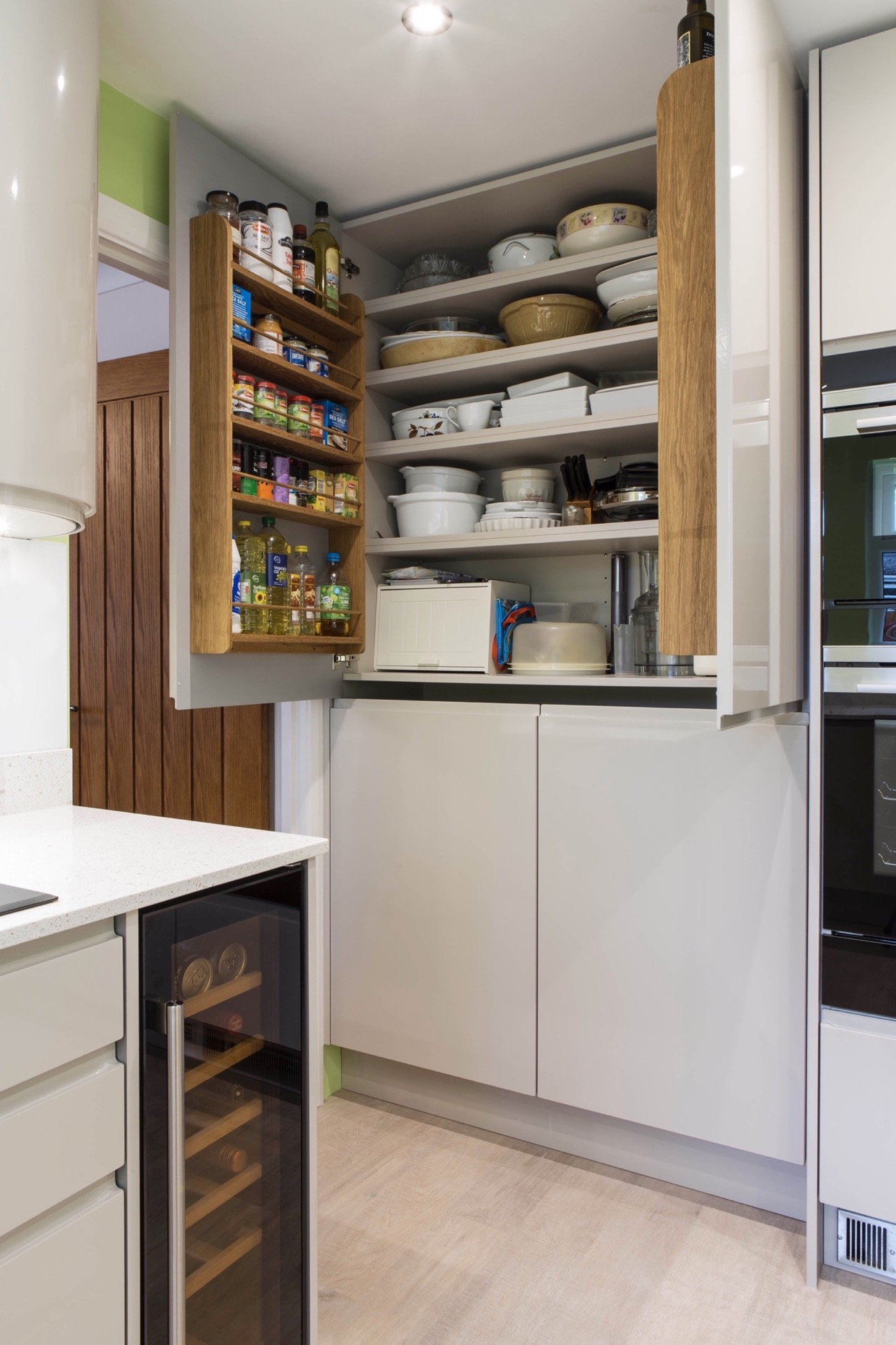 oak larder door storage racks princes risborough longwick bespoke kitchen