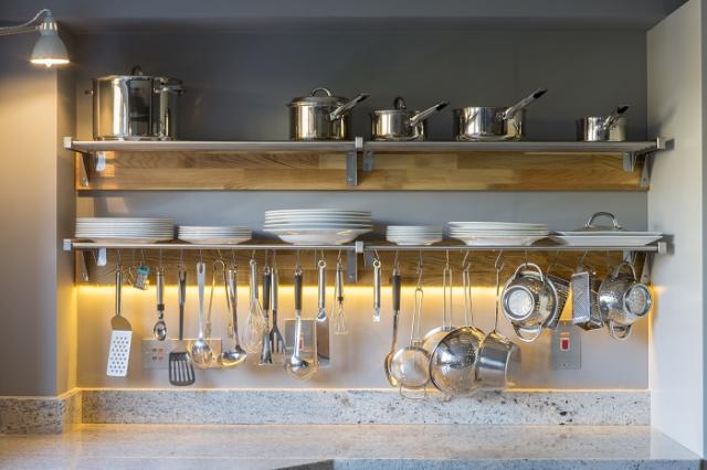 steel and oak plate rack oxford kitchen bespoke