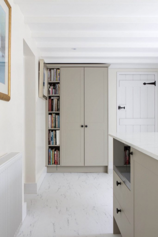 tall bookshelf kitchen bespoke island white silestone worktops worminghall oakley buckinghamshire 1 682x1024