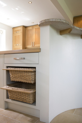 vegetable baskets curved kitchen island handpainted thame oxfordshire
